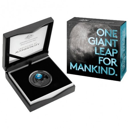 2019 $5 50th Anniversary of the Moon Landing Nickel Plated Coloured Silver Proof Domed Coin
