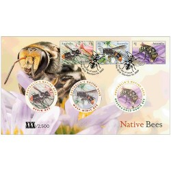 2019 Native Bees 3 Medallion & Stamp Cover PNC