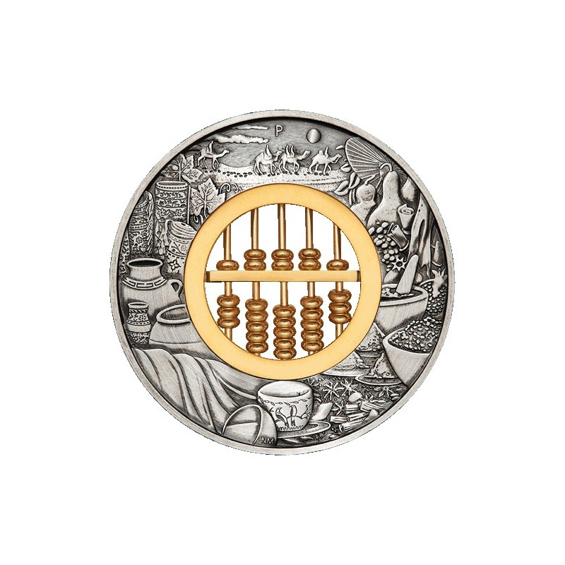 2019 $2 Abacus 2oz  Silver Antiqued Coin