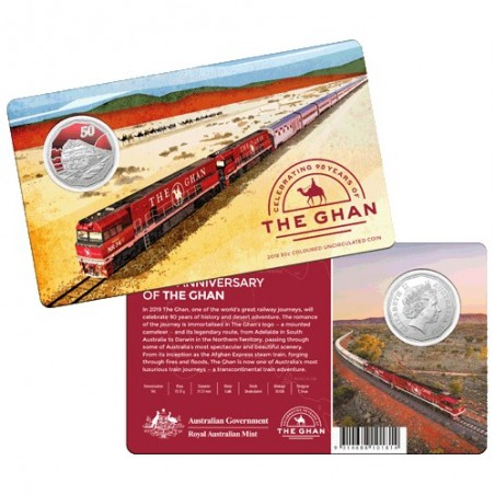 2019 50c 90th Anniversary of The Ghan CuNi Coloured Coin in Card