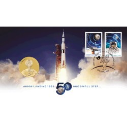 2019 $1 50th Anniversary of the Moon Landing Coin & Stamp Cover PNC