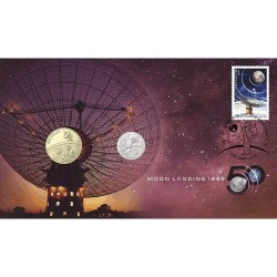 2019 $1 & 5c 50th Anniversary of the Moon Landing Coin & Stamp Cover PNC