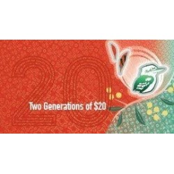 2019 $20 RBA Folder Two Generation Unc Banknote