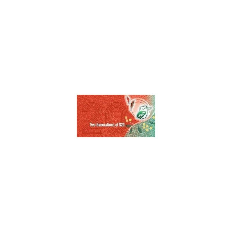 2019 $20 RBA Folder Two Generation Unc Banknote