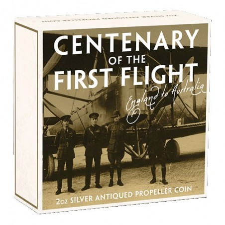 2019 $2 100th Anniversary of the First Flight England to Australia 2oz Silver Antiqued Coin