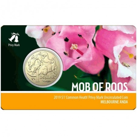 2019 $1 Melbourne ANDA Show Mob of Roos Common Heath Privy Mark Unc Coin in Card