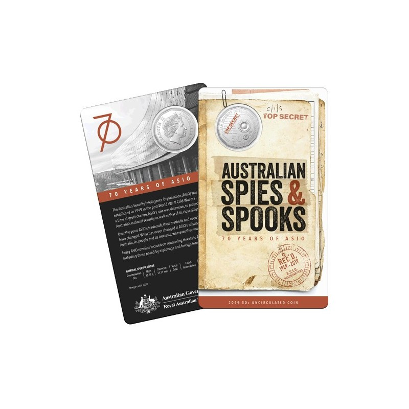 2019 50c 70th Anniversary of ASIO Uncirculated Coin in Card