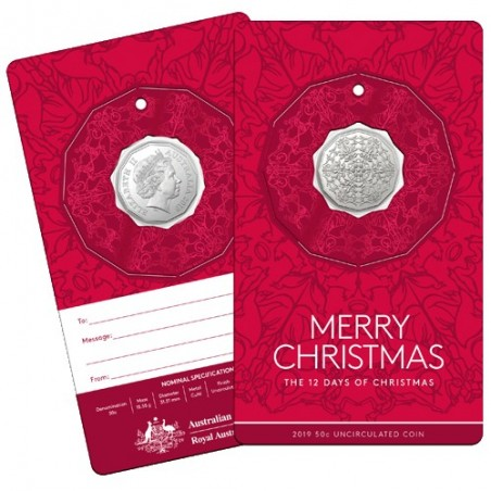 2019 50c The Twelve Days of Christmas Uncirculated Coin in Card