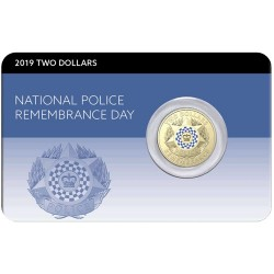 2019 $2 Police Remembrance Day C Mintmark Coloured Al/Br Coin in RAM Card