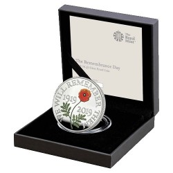 2019 UK L5 Remembrance Day Coloured Poppy Silver Proof Coin
