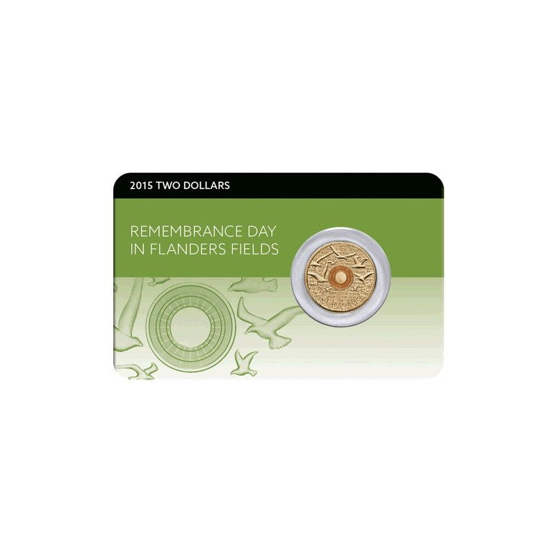 2015 $2 Remembrance Day Lest We Forget Uncirculated Coin in Card