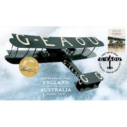 2019 $1 100th Anniversary First Flight England to Australia Coin & Stamp Cover PNC