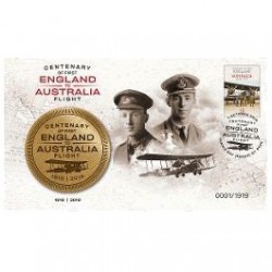 2019 Centenary of First Flight England to Australia Medallion & Stamp Cover PNC