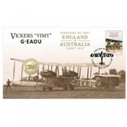 2019 $1 Centenary of First Flight England to Australia  Vickers 'Vimy' G-EAOU Coin & Stamp Cover PNC