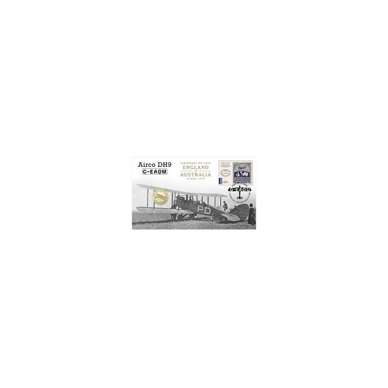 2019 $1 Centenary of First Flight England to Australia  Airco DH9 G-EAQM Coin & Stamp Cover PNC