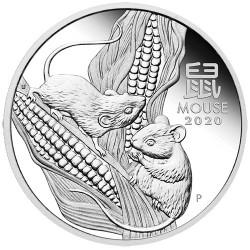 2020 $1 Australian Lunar Year of the Mouse 1oz Silver Bullion Coin in Capsule