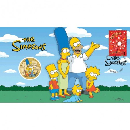 2019 $1 The Simpsons Family Coin & Stamp Cover PNC