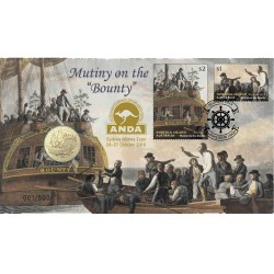 2019 $1 Mutiny on the Bounty Sydney Money Expo Coin & Stamp Cover PNC
