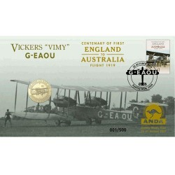 2019 $1 Centenary of First Flight England to Australia  Sydney Money Expo Vickers 'Vimy' G-EAOU Coin & Stamp Cover PNC