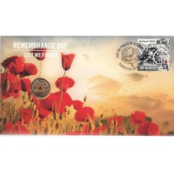 2015 $2 Remembrance Day Lest We Forget Coin & Stamp Cover PNC