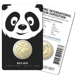 2019 $1 Beijing International Coin Expo Mob of Roos Panda Privymark Al/Br Coin in Card