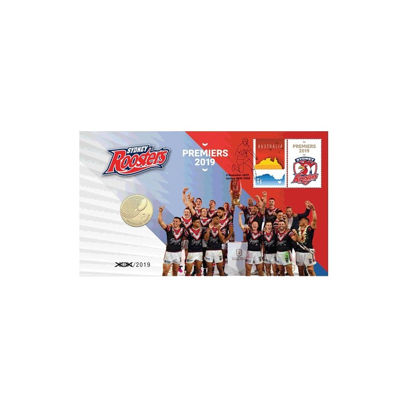 2019 $1 NRL Telstra Premiership Grand Final Sydney Roosters Coin & Stamp Cover PNC