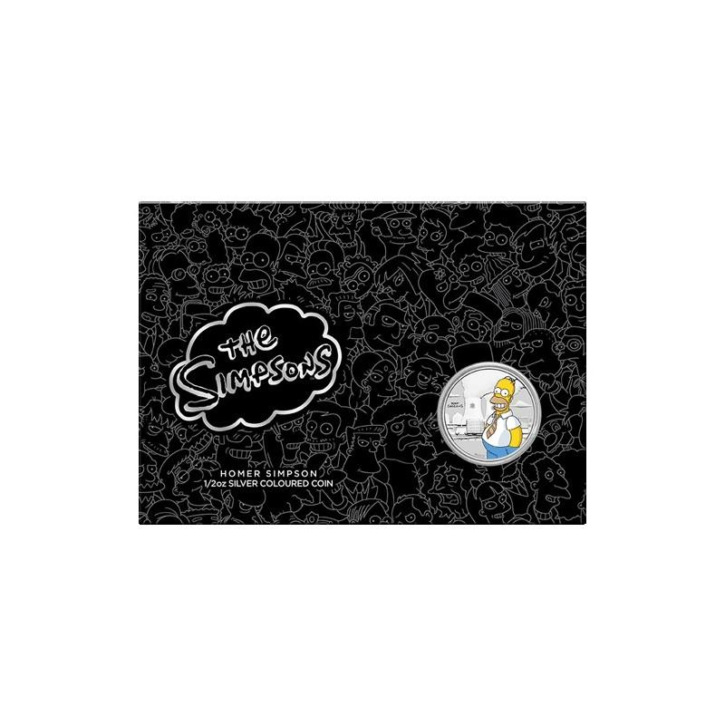2020 50c Homer Simpson 1/2oz Silver Coloured Coin in Card