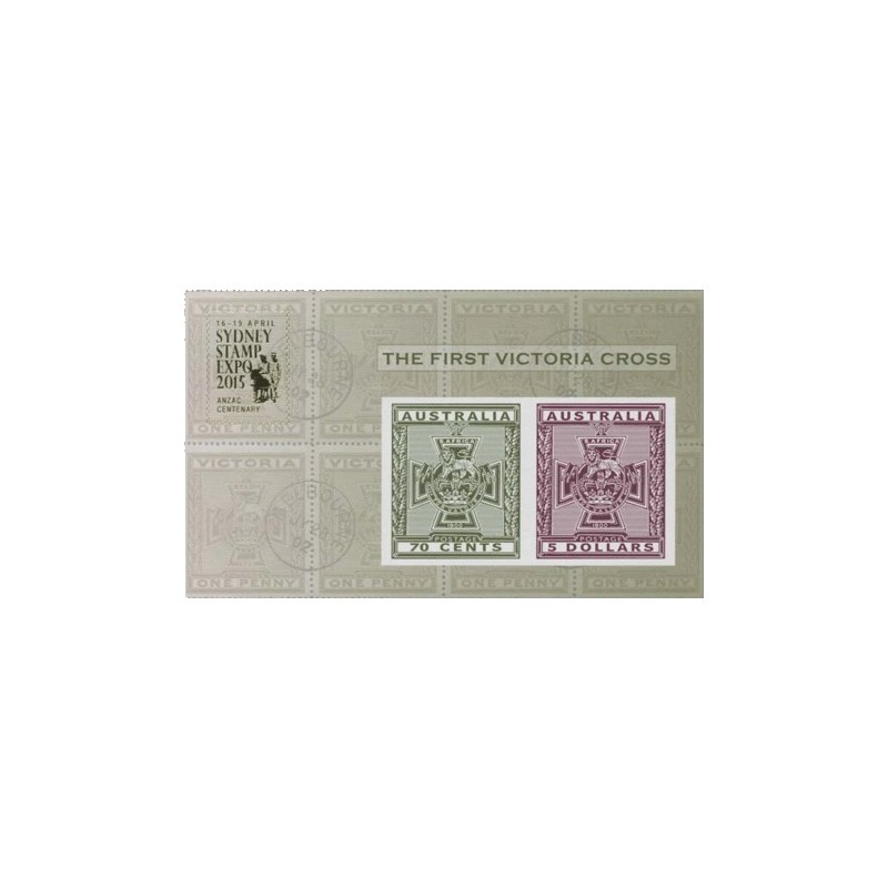 2015 The First Victoria Cross Imperforate Miniature Sheet Sydney Stamp Expo 2015 FDC