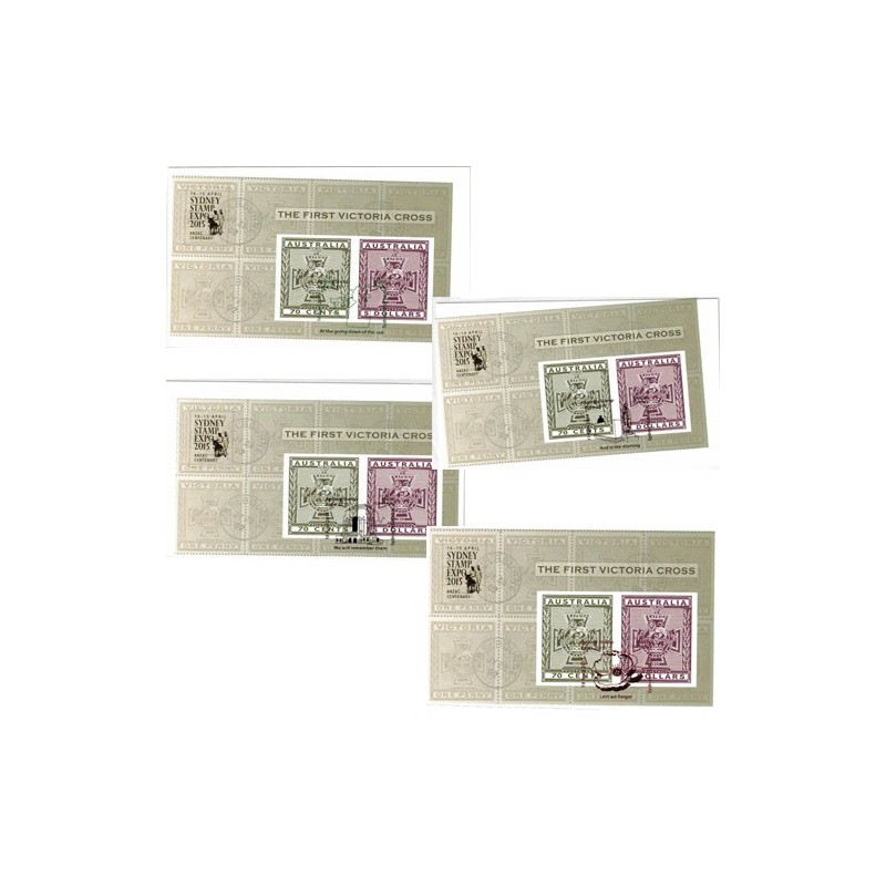 2015 The First Victoria Cross Imperforate MS Overprint Sydney Stamp Expo 2015 FDC - Set of 4