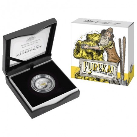 2020 $1 Eureka ! Australia's Gold Rush Silver Proof Selectively Gold Plated 'C' Mintmark Coin