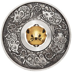 2020 $1 Year of the Mouse Rotating Charm 1oz Silver Antiqued Coin