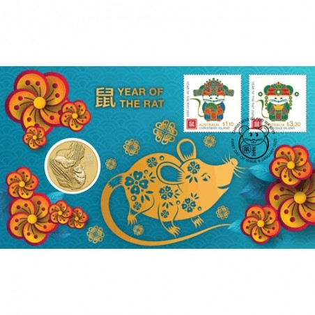2020 $1 Lunar Year of the Mouse Coin & Stamp Cover PNC