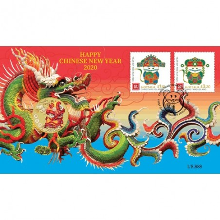 2020 $1 Chinese New Year Coin & Stamp Cover PNC