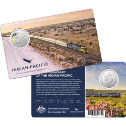 2020 50c 50th Anniversary of The Indian Pacific CuNi Coloured Coin in Card