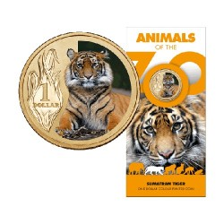 2012 $1 Animals of the Zoo -Sumatran Tiger Uncirculated Coin in Card