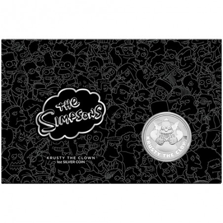 2020 $1 The Simpsons -  Krusty the Clown 1oz Silver Coin in Card