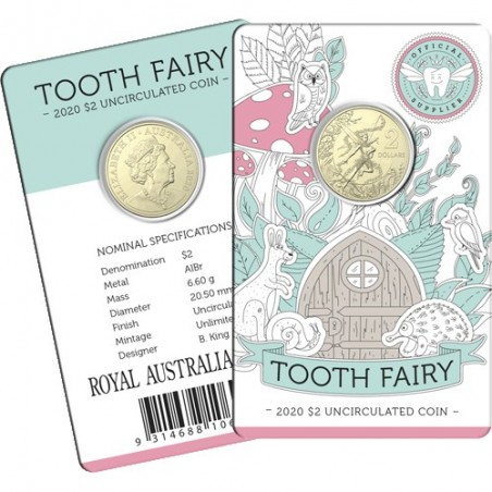 2020 $2 Tooth Fairy Albr Uncirculated Coin in Card