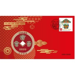 2020 Lunar Year of the Rat Medallion & Stamp Cover PNC