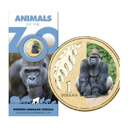 2012 $1 Animals of the Zoo - Lowland Gorilla Uncirculated Coin in Card