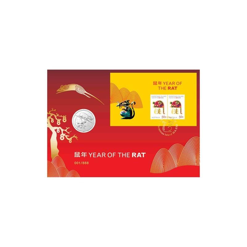2020 Lunar Year of the Rat Gold Foil Postmark Prestige Medallion & Stamp Cover PNC