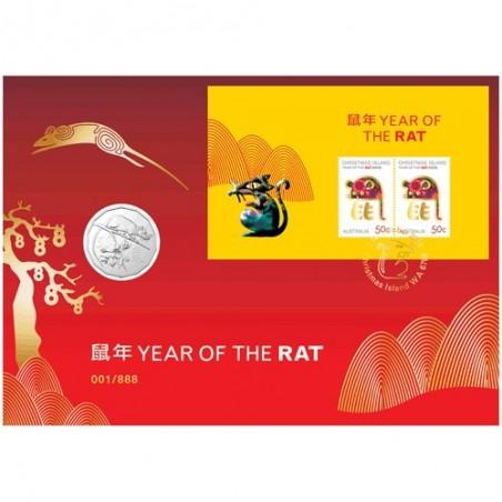 2020 50c Lunar Year of the Rat Gold Foil Postmark Prestige Medallion & Stamp Cover PNC