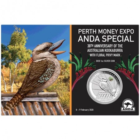 2020 $1 Perth Money Expo ANDA Special 30th Anniversary Kookaburra 1oz Silver Coin with Kangaroo Paw Privy Mark