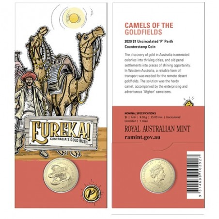 2020 $1 Eureka! Australia's Gold Rush Perth ANDA P Counterstamp Albr Coin in Card