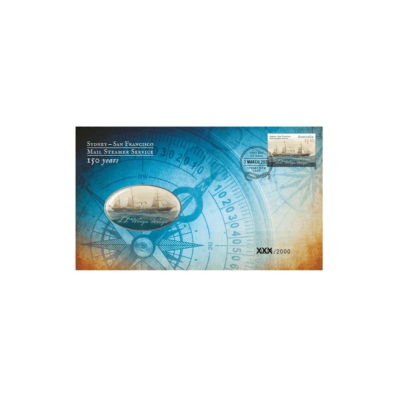 2020 150 Years Sydney - San Francisco Mail Steamer Service Medallion Cover PNC