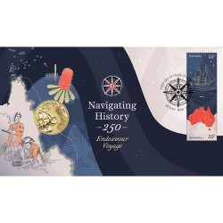 2020 $1 Navigating History - Endeavour Voyage Coin & Stamp Cover PNC