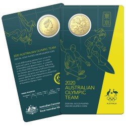 2020 50c Australian Olympic Team Gold Plated Coin in RAM Card