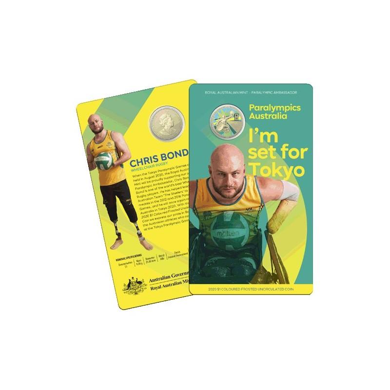 2020 $1 Australian Paralympic Team Ambassador Chris Bond - Wheelchair Rugby Uncirculated Coin in RAM Card