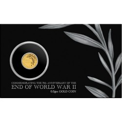 2020 $2 End of WWII 75th Anniversary 0.5gm Gold Bullion Coin in Card