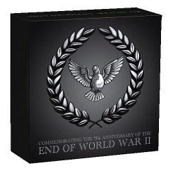 2020 $2 End of WWII 75th Anniversary 2oz Silver Antiqued Coin