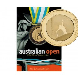 2012 $5 Australian Open 100th Mens Champion Uncirculated Coin in Card